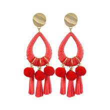Load image into Gallery viewer, Gold-plated statement red paper tassel and pom poms earrings with teardrop hoops