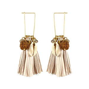 Gold-plated paper tassel earrings with natural shell