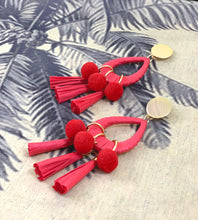 Load image into Gallery viewer, Maxi statement red paper tassel teardrop earrings with red pom poms and gold-plated posts