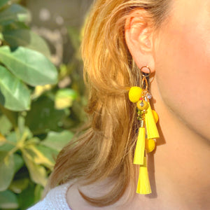 Summer yellow tassel colorful earrings