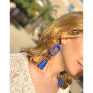 Blue summer paper earrings with tassels and wood beads on gold-plated brass