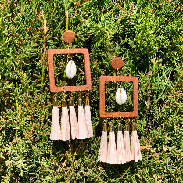 """SEA SPIRIT"" MAXI WOOD TASSEL EARRINGS"