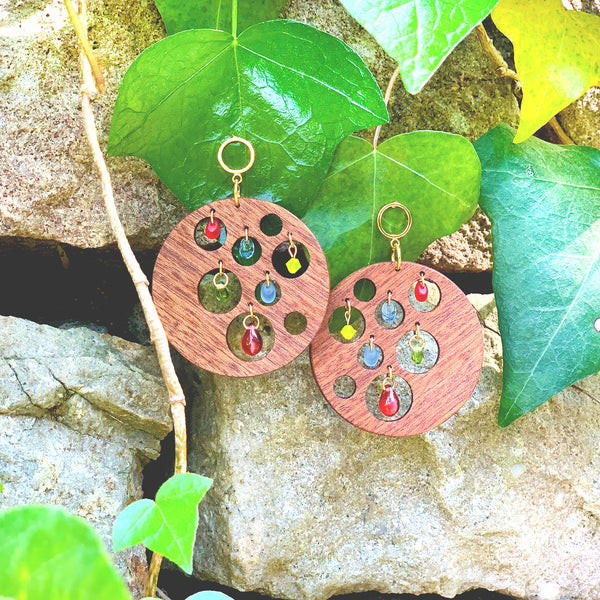 Round wooden earrings with multicolored Czech glass teardrop beads