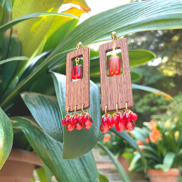Summer statement wooden earrings with red beads