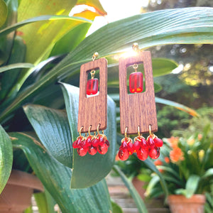 Geometric wooden earrings with gold-plated base and red Czech glass rectangular and teardrop beads