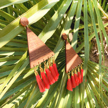 "Load image into Gallery viewer, ""PALMERA TASSELS"" TRIANGULAR WOOD EARRINGS"