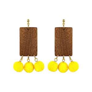 """LEMON TREE"" WOOD POM POM EARRINGS - Lemiché"