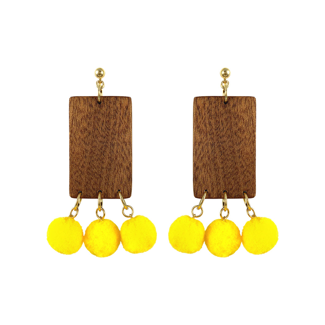 Gold-plated dangle rectangular wooden earrings with yellow pom poms