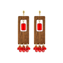 Load image into Gallery viewer, Rectangular dangle wooden earrings with red Czech glass beads