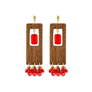 Rectangular dangle wooden earrings with red Czech glass beads