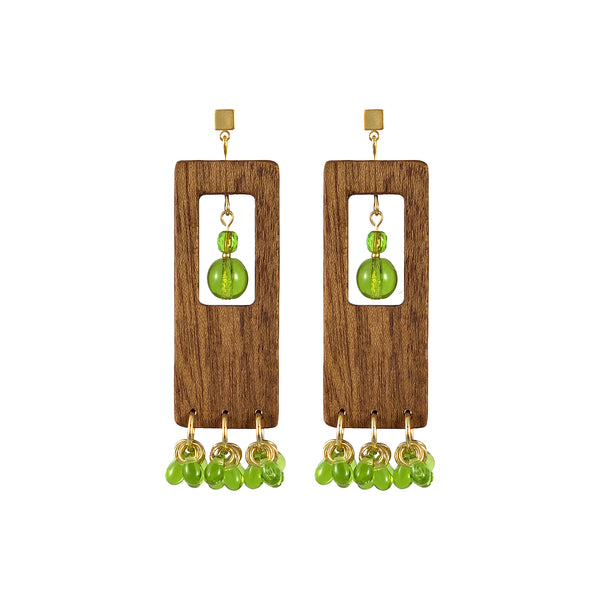 Dangle rectangular wood earrings with olive green glass beads and gold-plated base