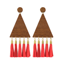"Load image into Gallery viewer, ""PALMERA TASSELS"" TRIANGULAR WOOD EARRINGS - Lemiché"