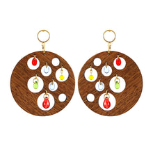 Load image into Gallery viewer, Gold-plated dangle round hard wood earrings decorated with colorful glass beads