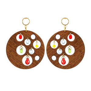 Gold-plated dangle round hard wood earrings decorated with colorful glass beads