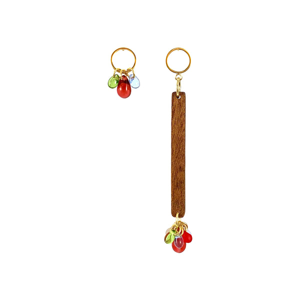 Asymmetrical dangle wood earrings with colorful Czech glass beads
