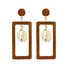 Load image into Gallery viewer, Rectangular wooden earrings with dangling natural Cowrie shell in the middle