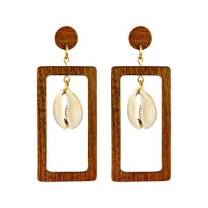 Rectangular wooden earrings with dangling natural Cowrie shell in the middle