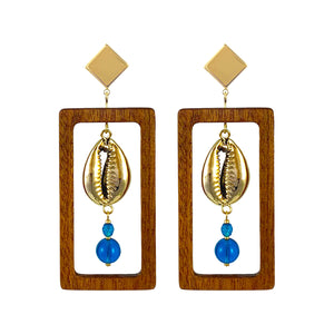 Statement geometric rectangular wood earrings with gold-plated natural Cowrie shells and blue Czech glass beads