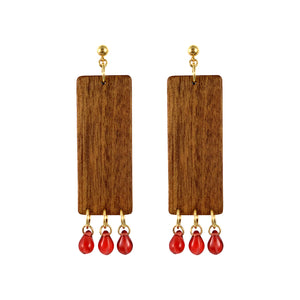 """CHERRY DROPS"" RECTANGULAR WOOD EARRINGS - Lemiché"