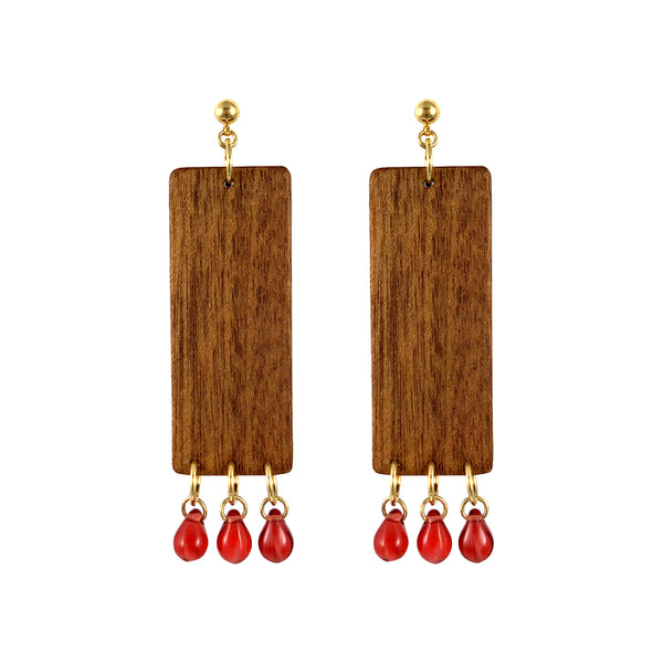 Gold-plated dangle rectangular wood earrings with red Czech glass beads
