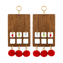 Load image into Gallery viewer, Statement geometrical rectangular big earrings made of wood with Czech glass beads and red pom poms