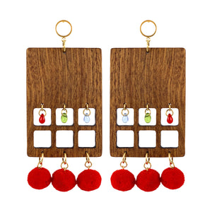 """BERRY PRISM"" MAXI WOOD EARRINGS - Lemiché"
