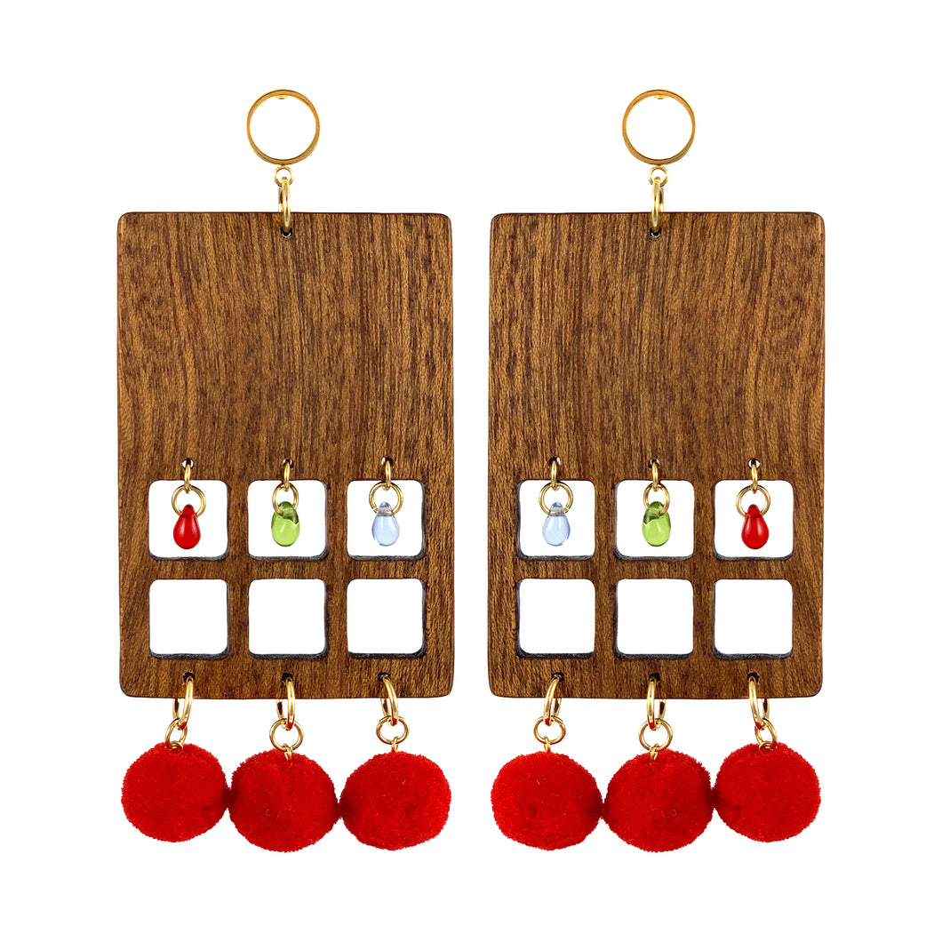 Statement geometrical rectangular big earrings made of wood with Czech glass beads and red pom poms