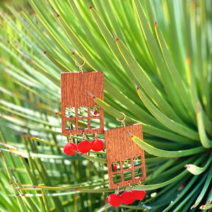 Maxi rectangular wood earrings with red pom poms and colorful glass beads
