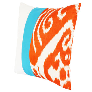 Square cushion cover in orange silk ikat and turquoise and white sides
