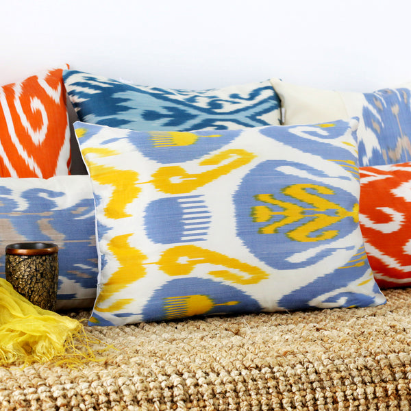 Colorful silk ikat pillow covers