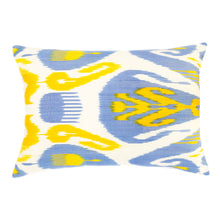 Load image into Gallery viewer, Rectangular yellow and blue ikat pillow cover