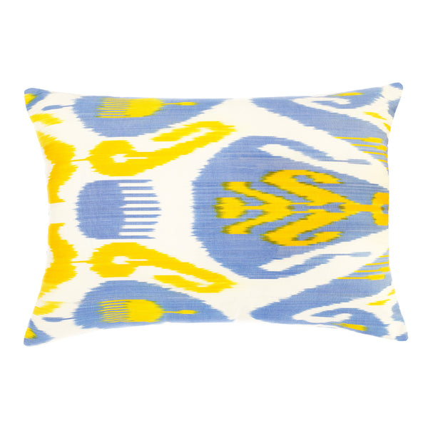 Rectangular yellow and blue ikat pillow cover