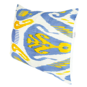 Uzbekistan ikat cushion cover in blue and yellow