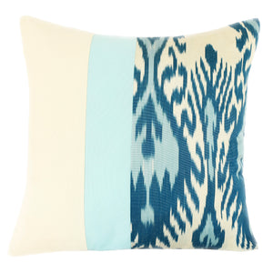 Turquoise silk ikat pillow cover
