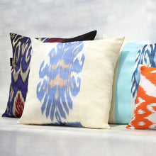 Load image into Gallery viewer, BLUE AND CREAM IKAT PILLOW COVER - SET OF 2 - Lemiché