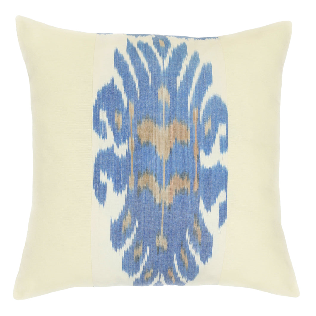 BLUE AND CREAM IKAT CUSHION COVER - Lemiché