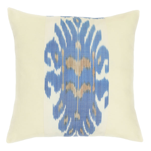 Uzbekistan ikat square cushion cover in blue and cream