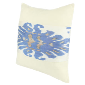 Ivory and blue silk ikat cushion cover for home decor