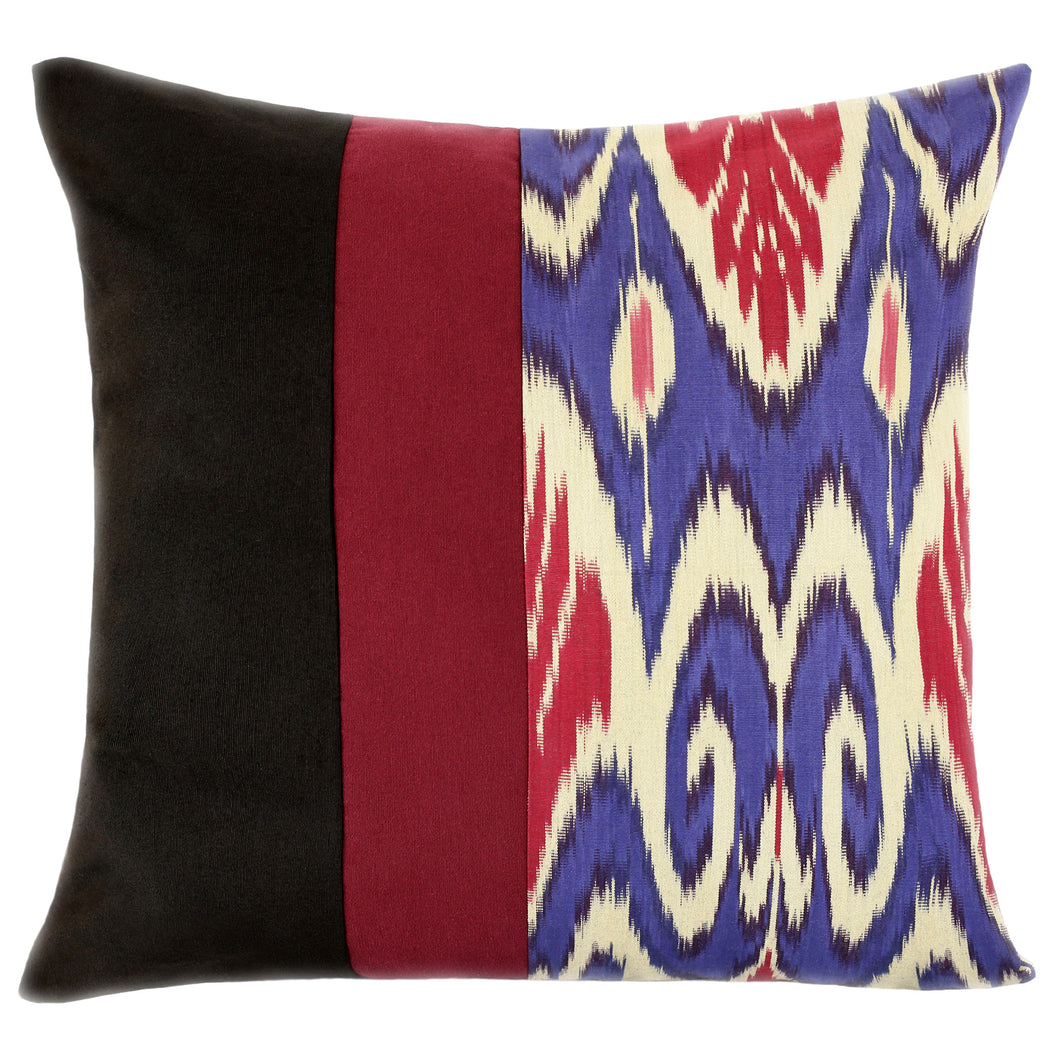 Colorblock cotton ikat throw pillow cover