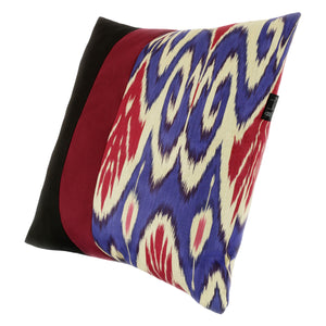 Square blue and red Uzbekistan ikat cushion cover