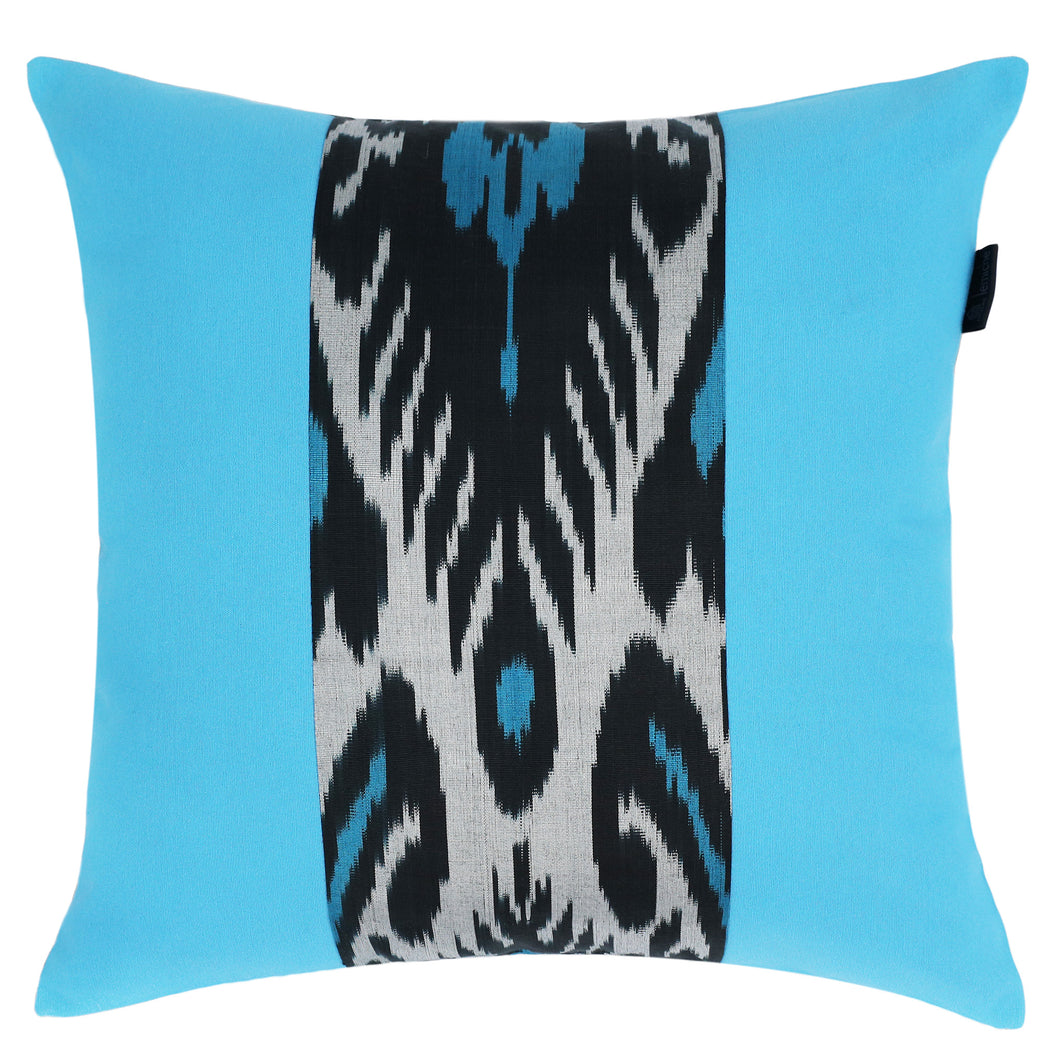 TURQUOISE AND BLACK DOUBLE-SIDED IKAT CUSHION COVER - Lemiché