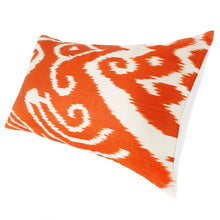 Load image into Gallery viewer, Long rectangular Uzbekistan silk ikat pillow in bright orange and white