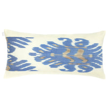 Load image into Gallery viewer, Long lumbar pillow cover with blue and beige silk ikat handmade in Uzbekistan