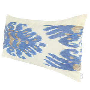 Long rectangular pillow cover with ivory and blue silk ikat
