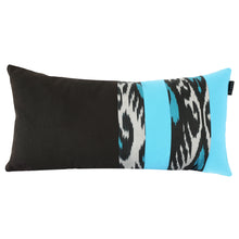 Load image into Gallery viewer, TURQUOISE AND BLACK IKAT LUMBAR CUSHION COVER - Lemiché