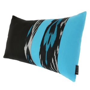 TURQUOISE AND BLACK IKAT PILLOW COVER - SET OF 2 - Lemiché