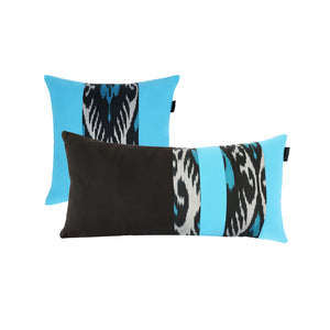 TURQUOISE AND BLACK PILLOW COVER - SET OF 2