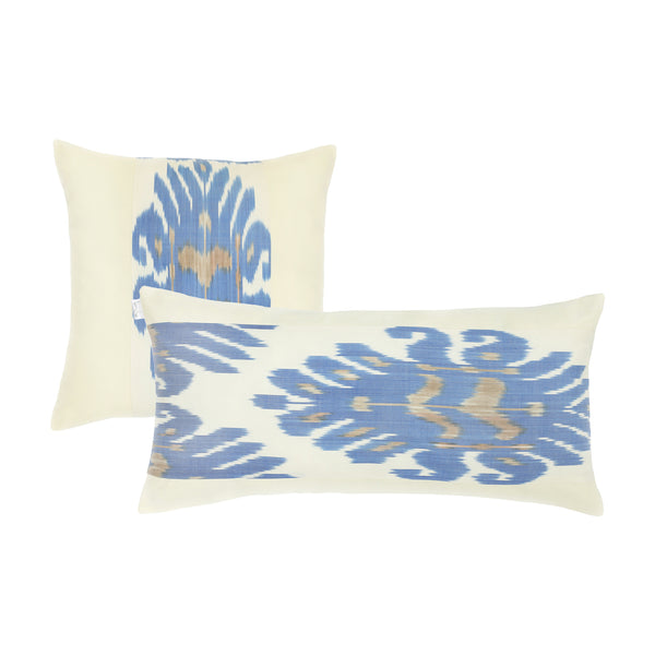 Blue and cream square and rectangular pillow cover set with silk ikat handmade in Uzbekistan