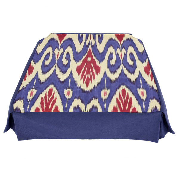 Blue and red ikat chair cover