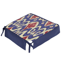 Load image into Gallery viewer, NAVY AND CRIMSON IKAT DINING CHAIR COVER - Lemiché